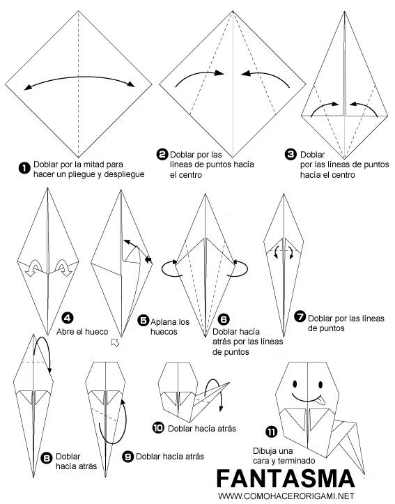 fantasma origami paso a paso