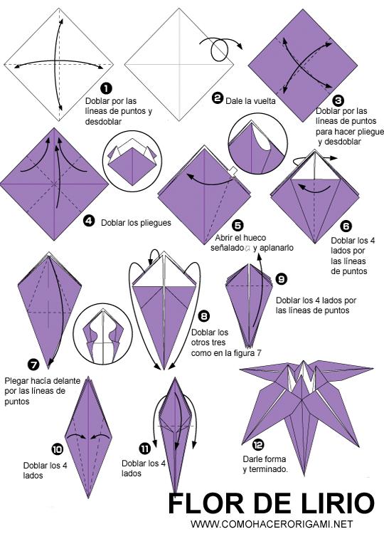 Flor de Lirio de papel - ComoHacerOrigami.net