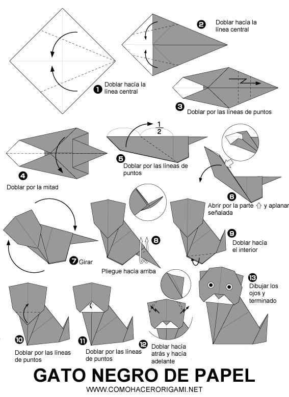 gato negro origami paso a paso