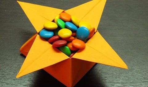Caja de papel estrella - Como hacer cajitas de cartulina ...