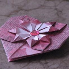 corazon flor origami