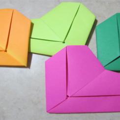 corazon de origami con texto