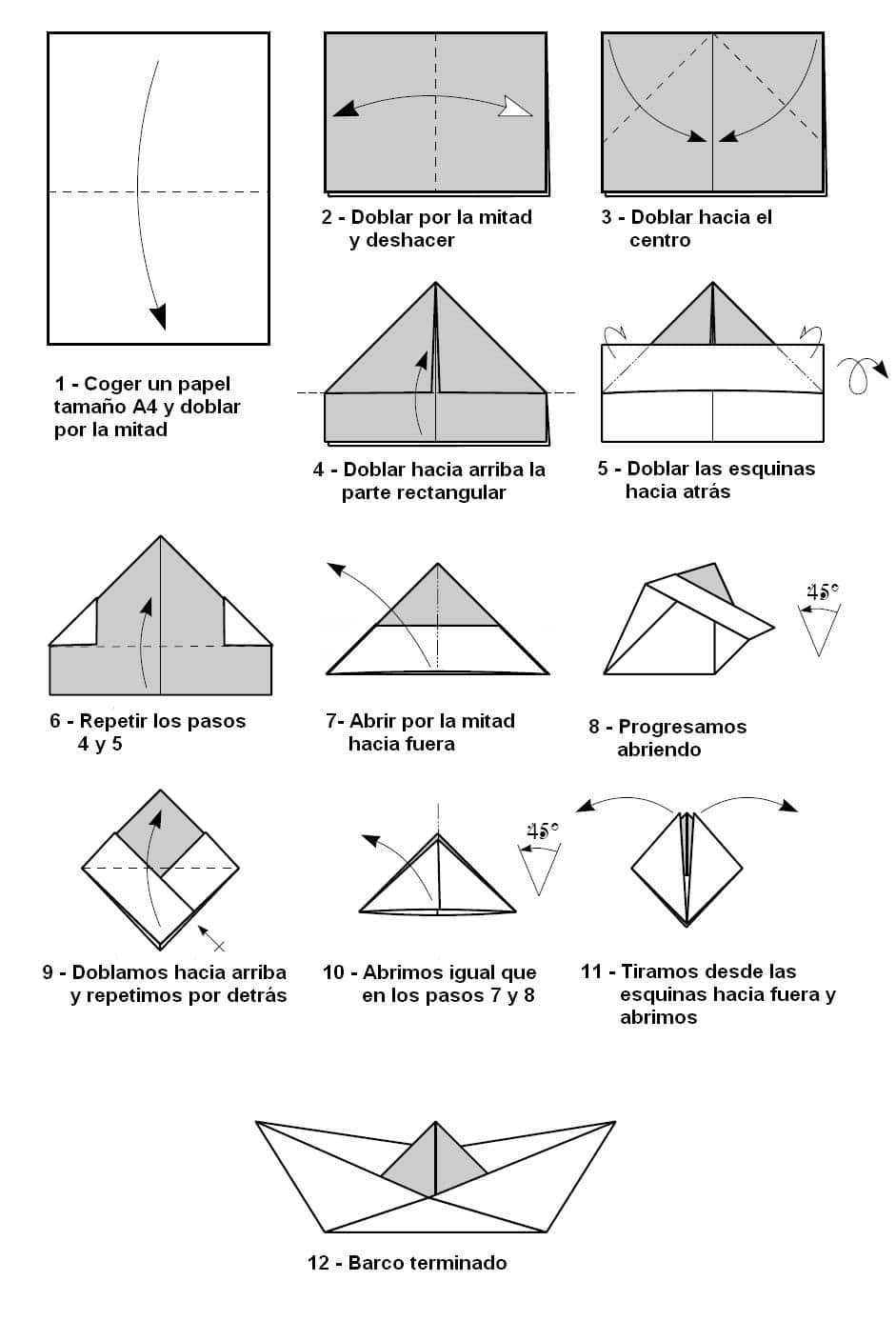 barco de origami tradicional