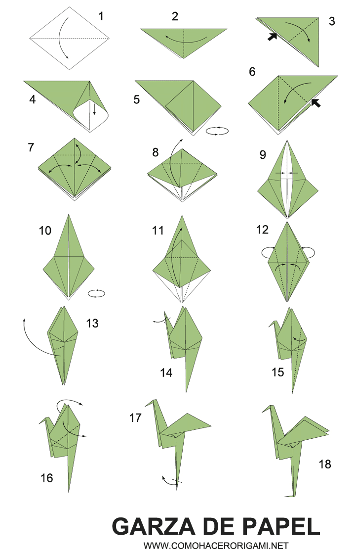 garza origami paso a paso