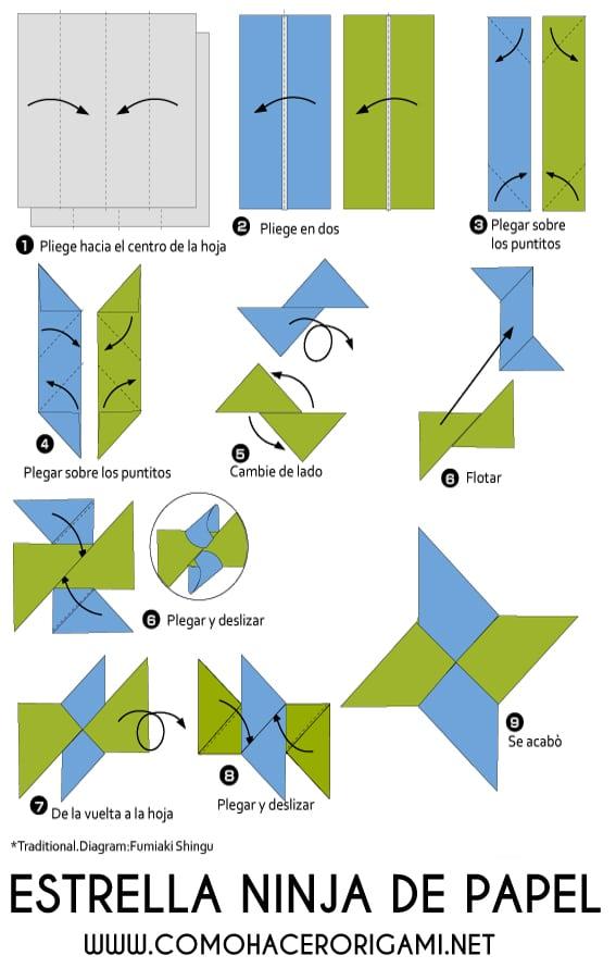 shuriken origami paso a paso