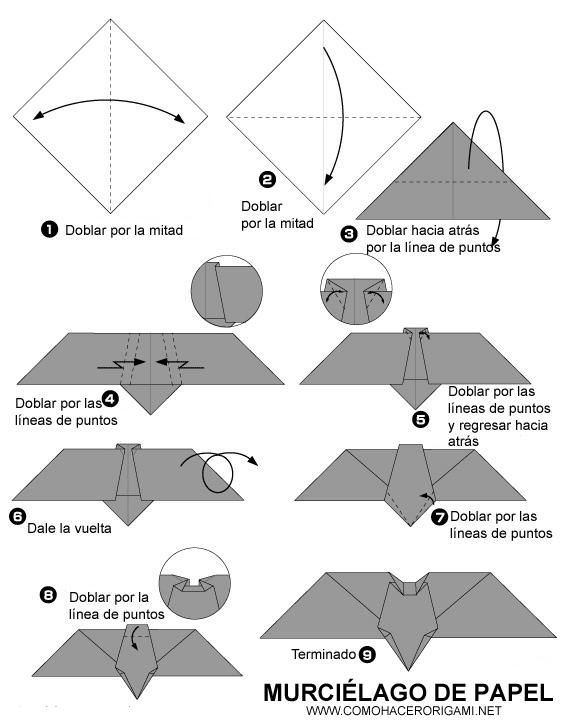 Murcielago origami paso a paso