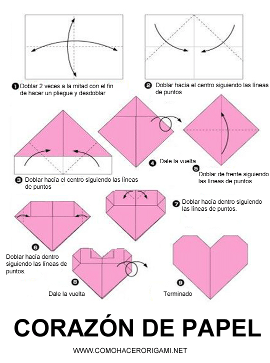 corazón origami paso a paso
