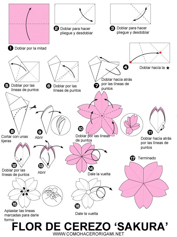 flor de cerezo de origami paso a paso