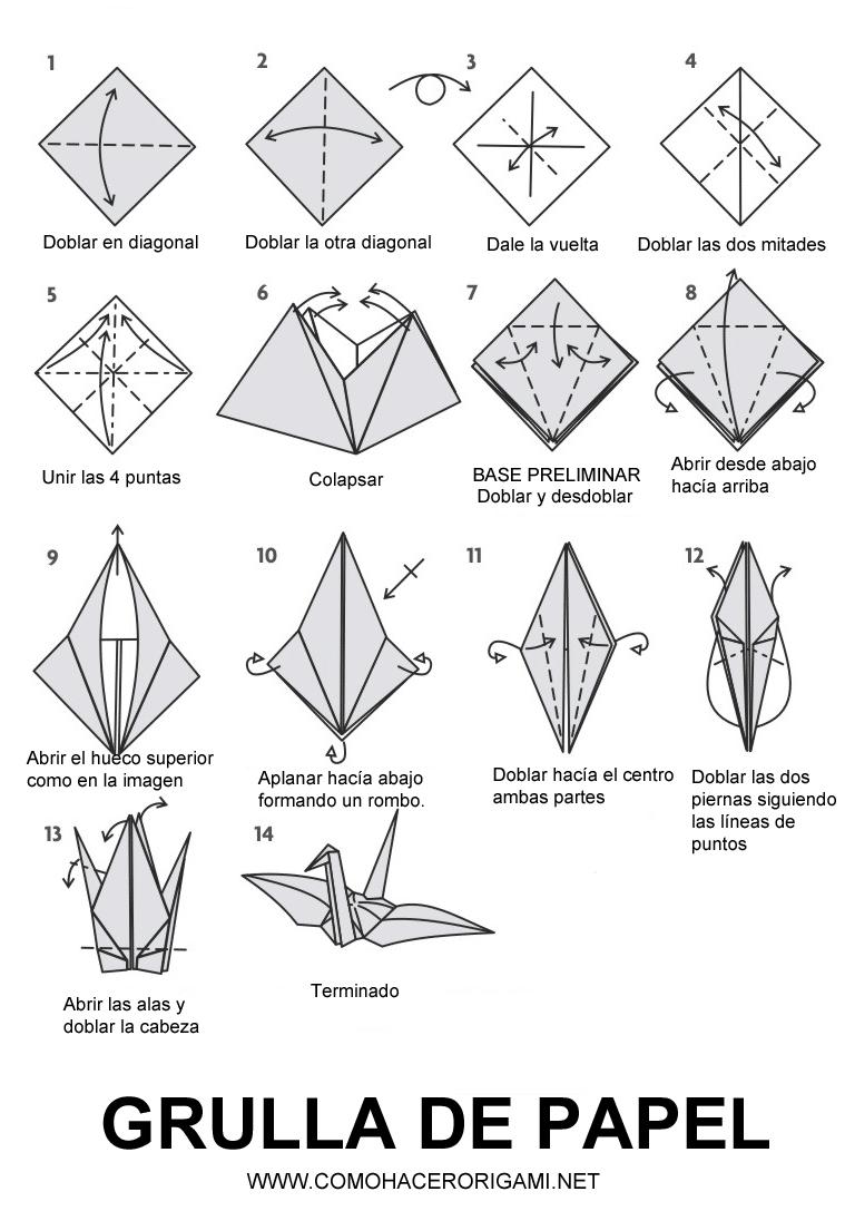grulla origami paso a paso