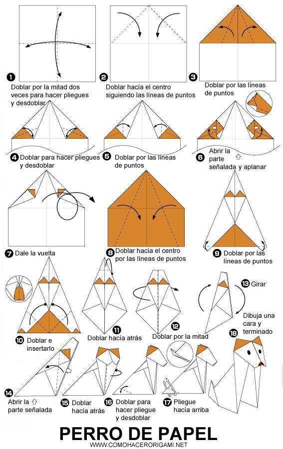 perro de origami paso a paso