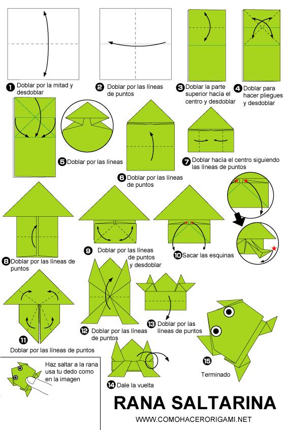 rana saltarina origami paso a paso