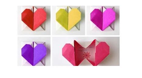 caja carta corazon origami