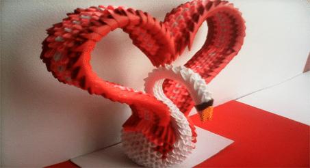 cisne corazon de papel 3d