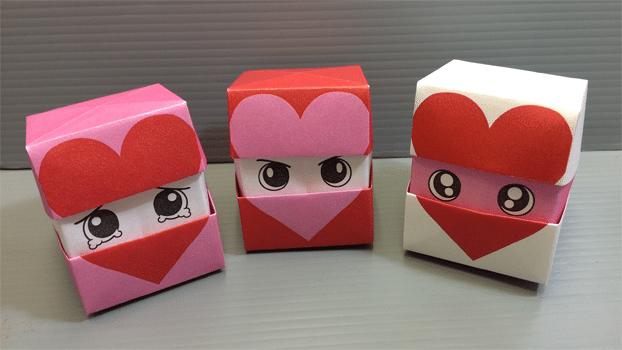 cubo corazon de origami