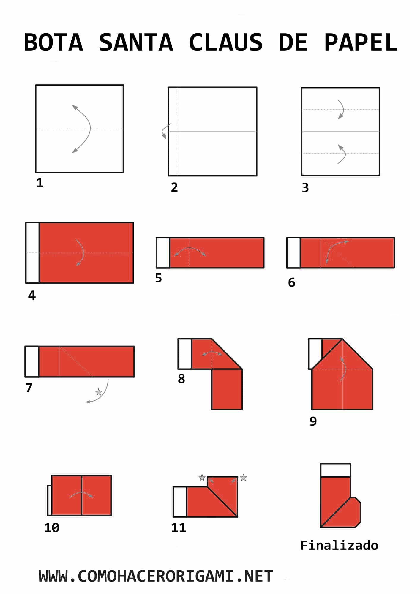 bota de santa origami paso a paso